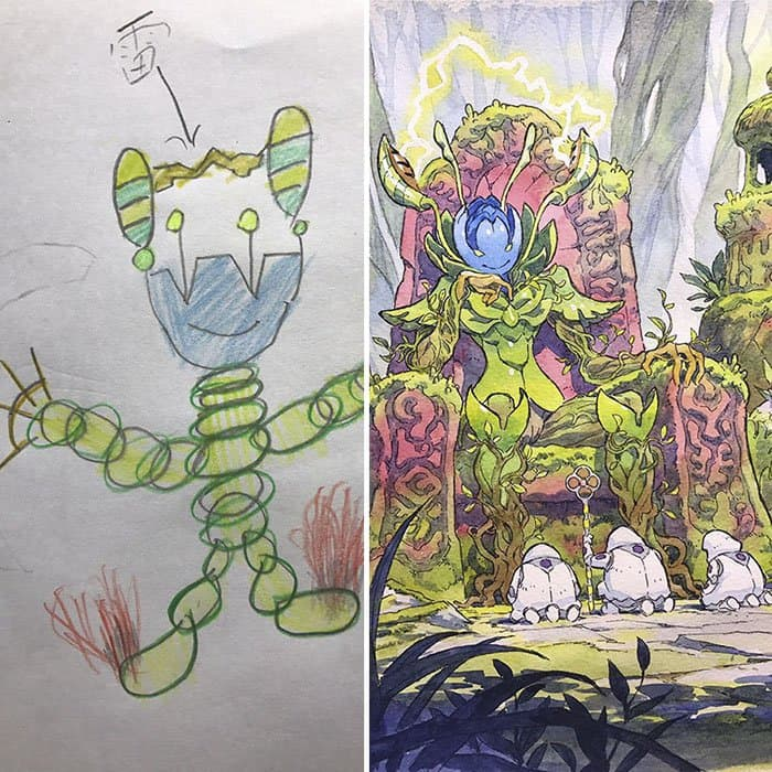 Dad Turns His Son's Drawings Into Anime Characters nature creature
