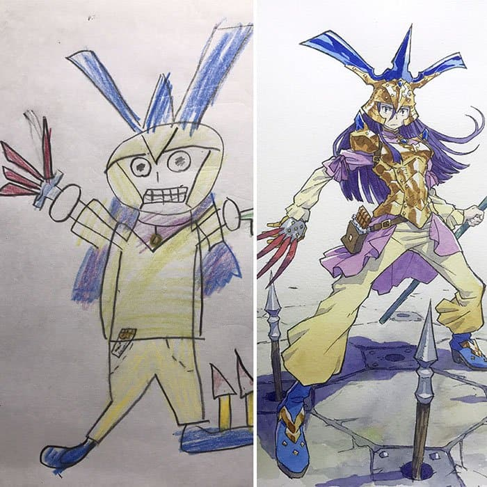Dad Turns His Son's Drawings Into Anime Characters purple hair
