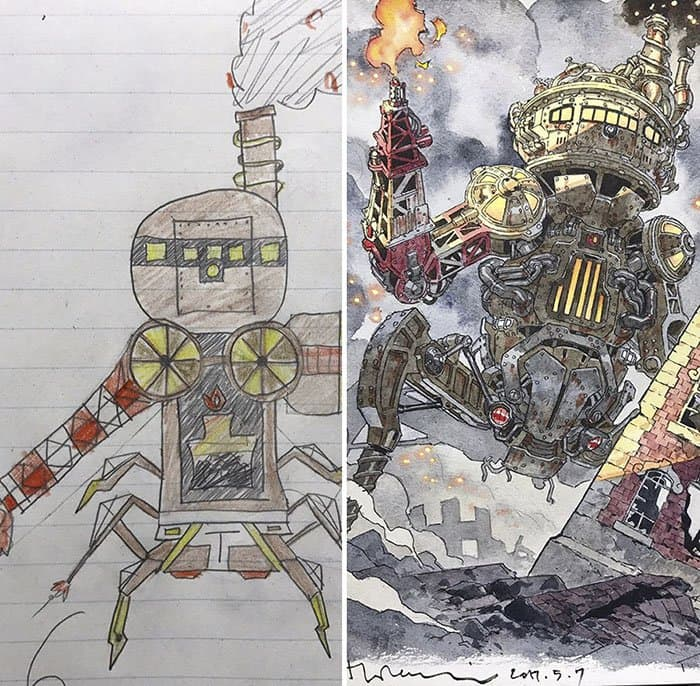 Dad Turns His Son's Drawings Into Anime Characters robot multiple legs