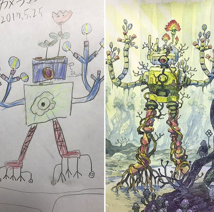 Dad Turns His Son's Drawings Into Anime Characters robot