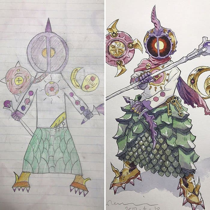 Dad Turns His Son's Drawings Into Anime Characters scales