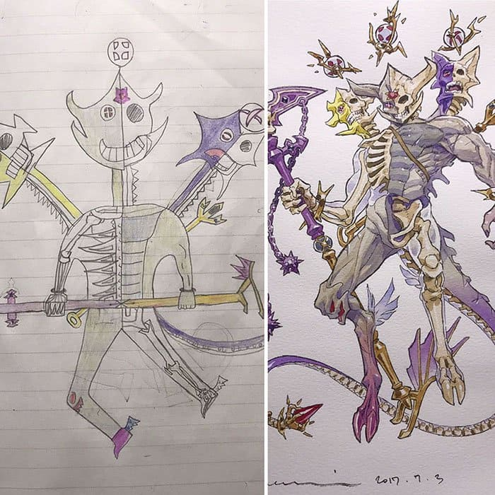 Dad Turns His Son's Drawings Into Anime Characters skeleton