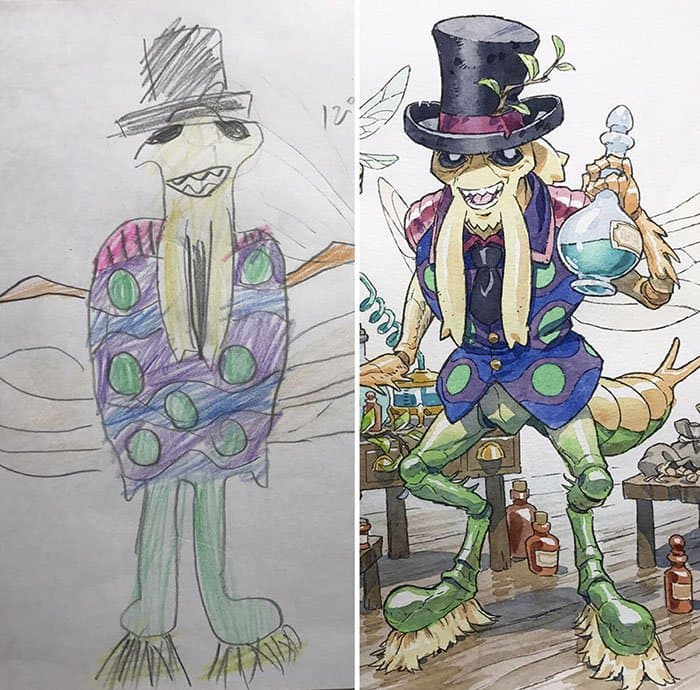 Dad Turns His Son's Drawings Into Anime Characters top hat potion