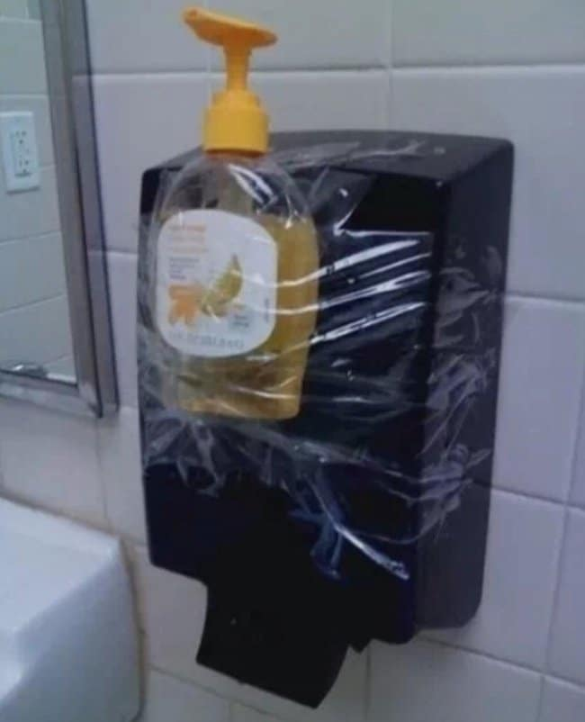 Genius Life Hacks soap taped to dispenser