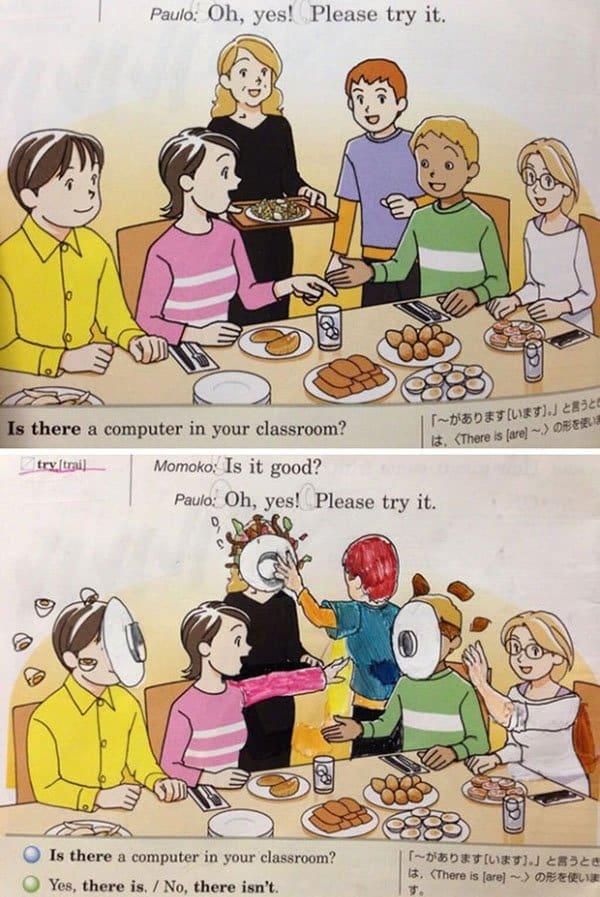 Genius Textbook Vandalism food fight