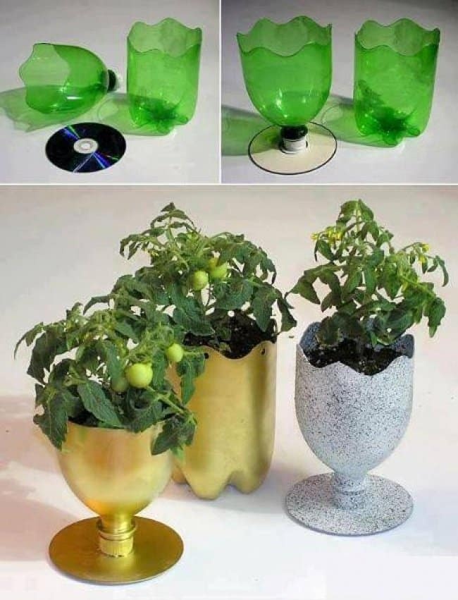 Ideas For Reusing Plastic Bottles flower pots