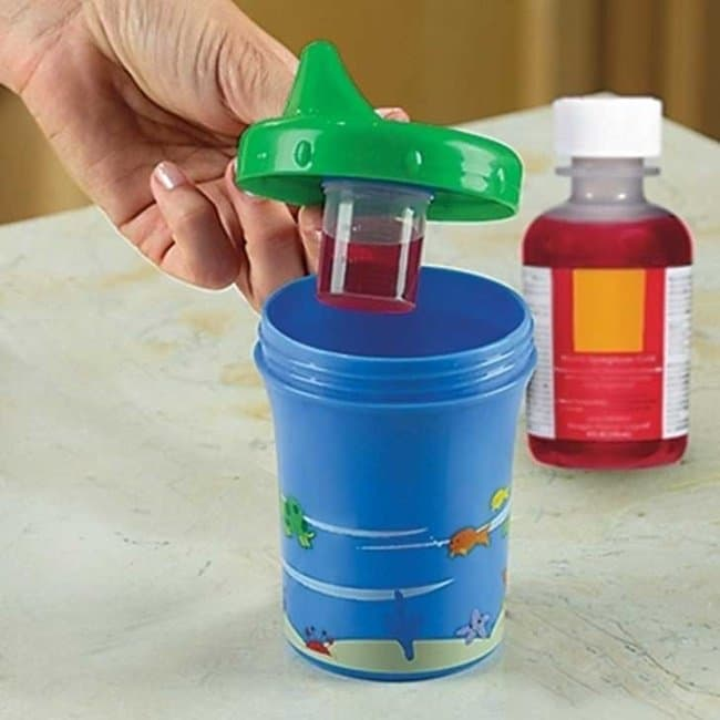 Inventions For Parents sippy cup with secret medicine compartment