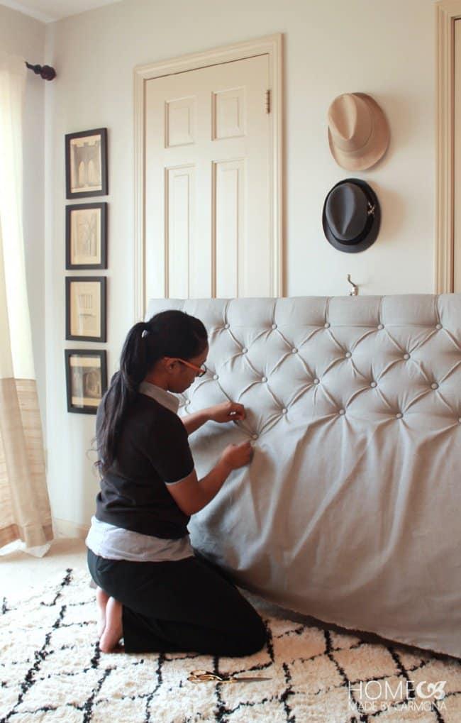 Low Cost Ways To Transform Your Home diamond tufted headbord