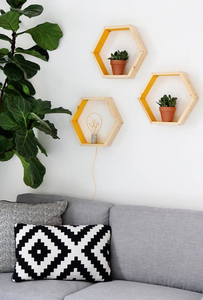 Low Cost Ways To Transform Your Home hexagon shelves