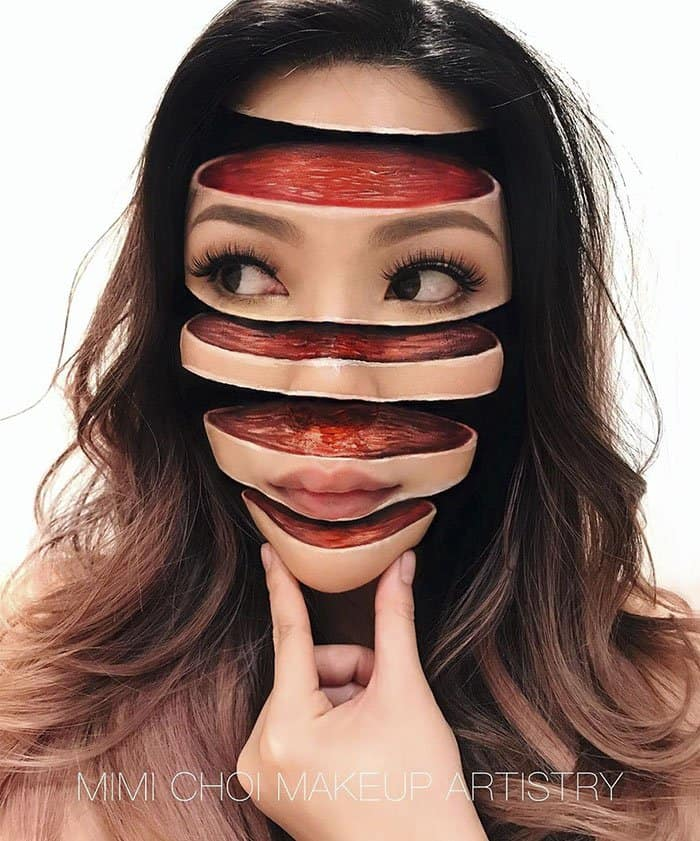 Optical Illusions With Makeup head sliced