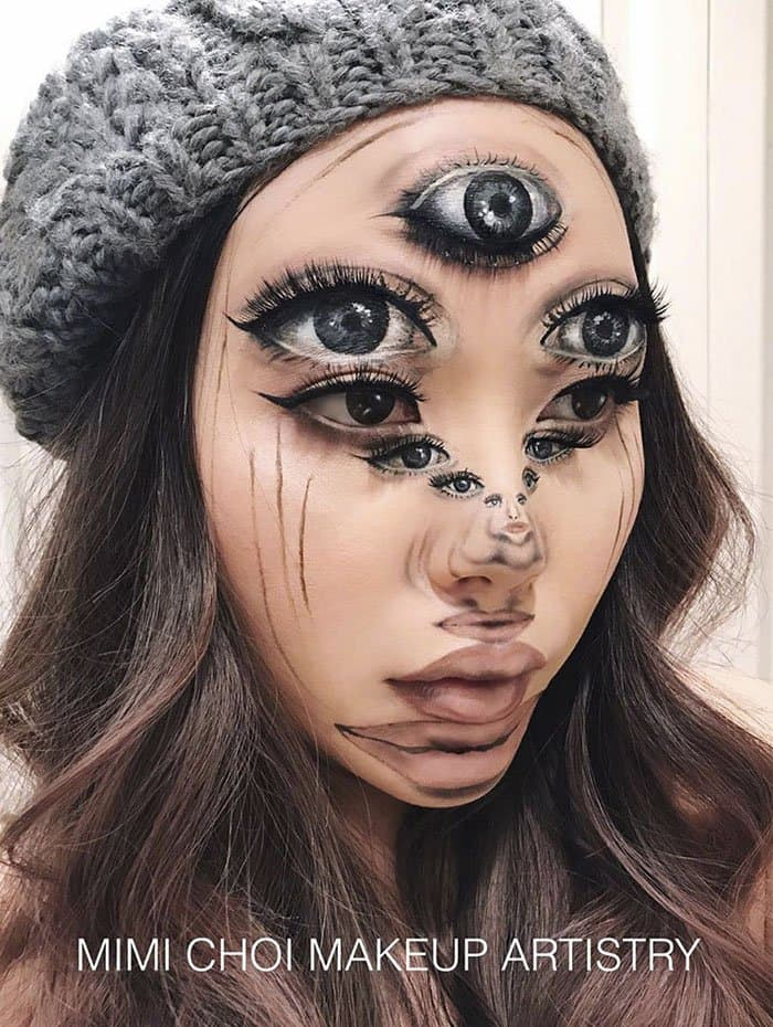 Optical Illusions With Makeup multiple eyes and mouth