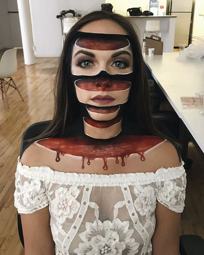 Optical Illusions With Makeup sliced head