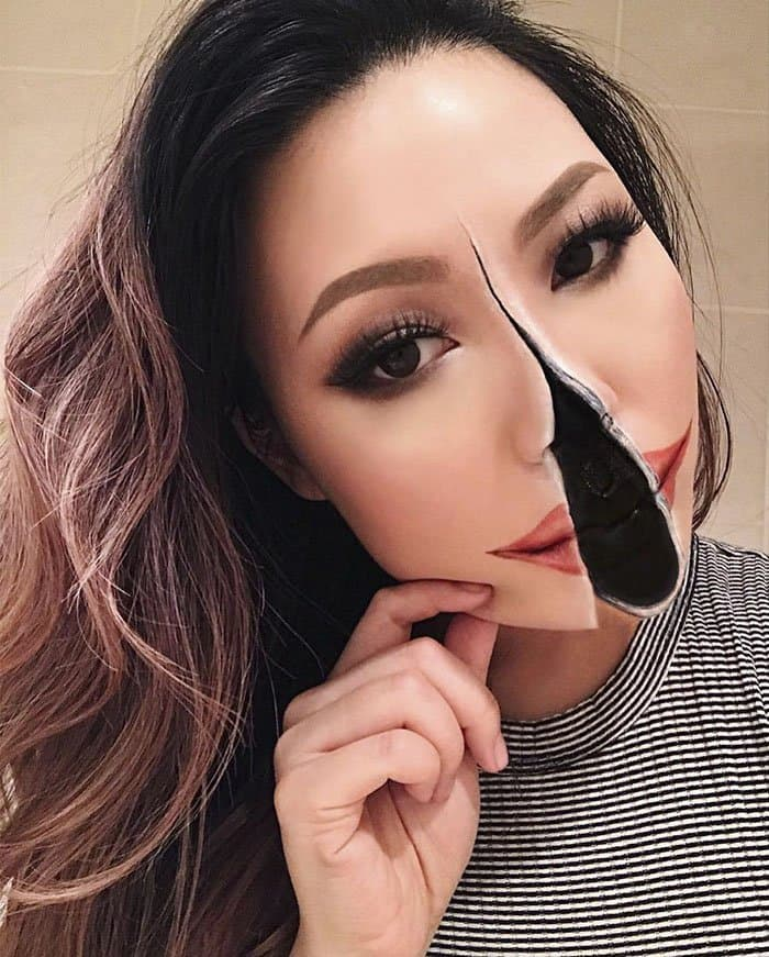 Optical Illusions With Makeup split chin