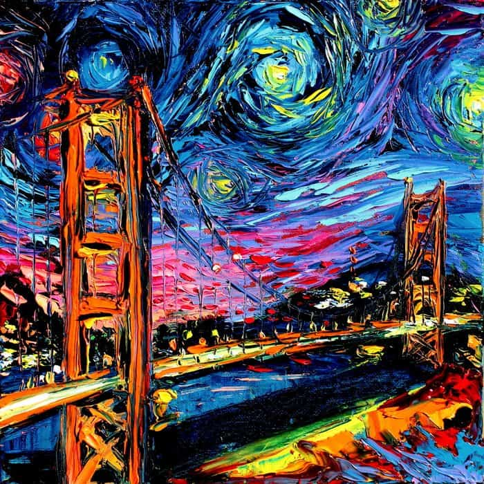Painting Mistaken For A Van Gogh aja kusick golden gate bridge
