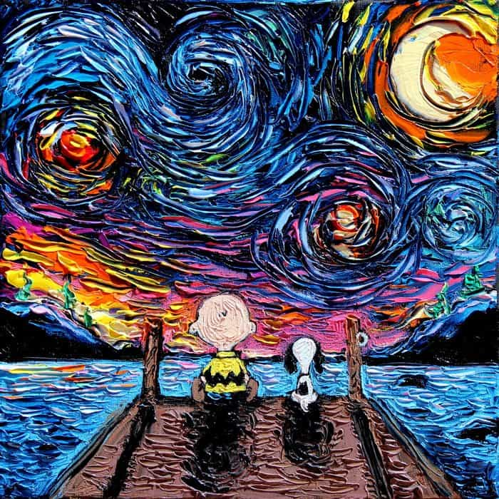 Painting Mistaken For A Van Gogh aja kusick snoopy and charlie