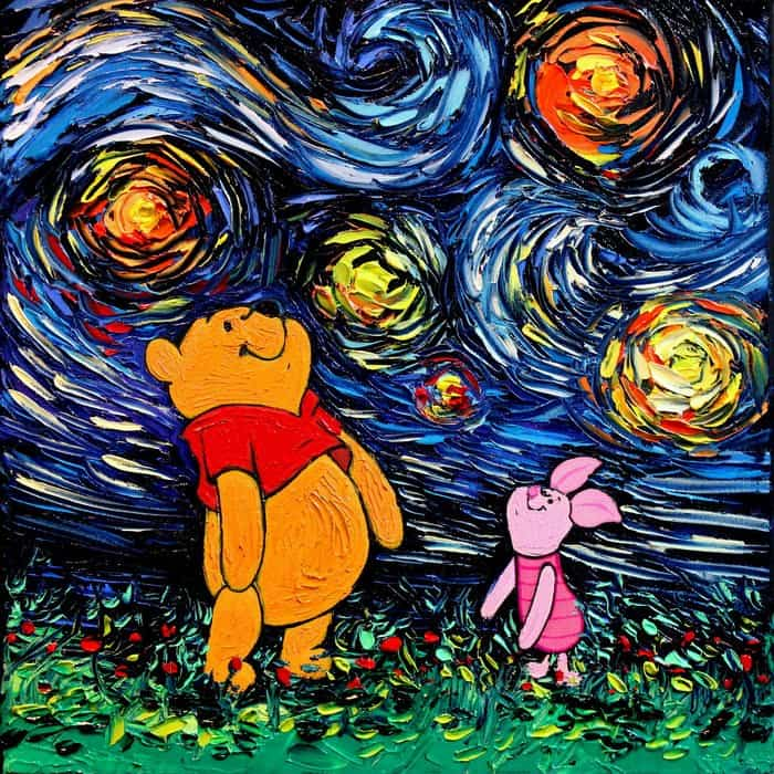 Painting Mistaken For A Van Gogh aja kusick winnie the pooh and piglet