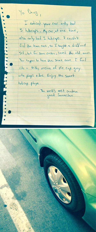 Stories Of People Finding Things hubcap samaritan