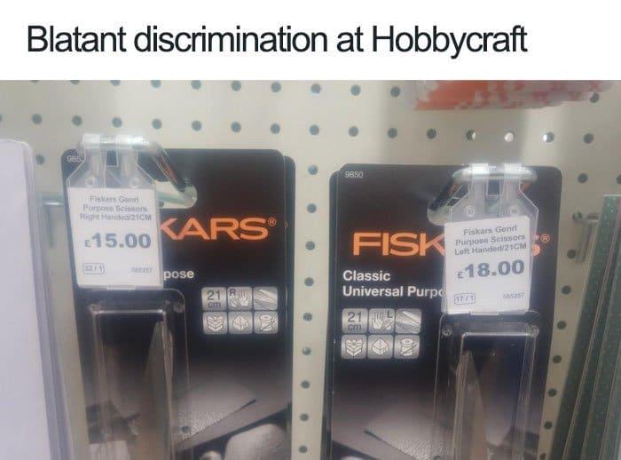 Struggles That Left Handed People Face hobbycraft discrimination