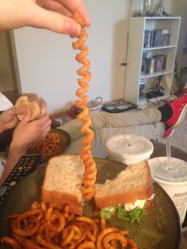 Times Lucky People Hit The Food Jackpot long curly fry