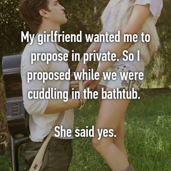 Unique Marriage Proposals cuddling in bathtub