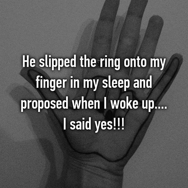 Unique Marriage Proposals slipped ring on in sleep