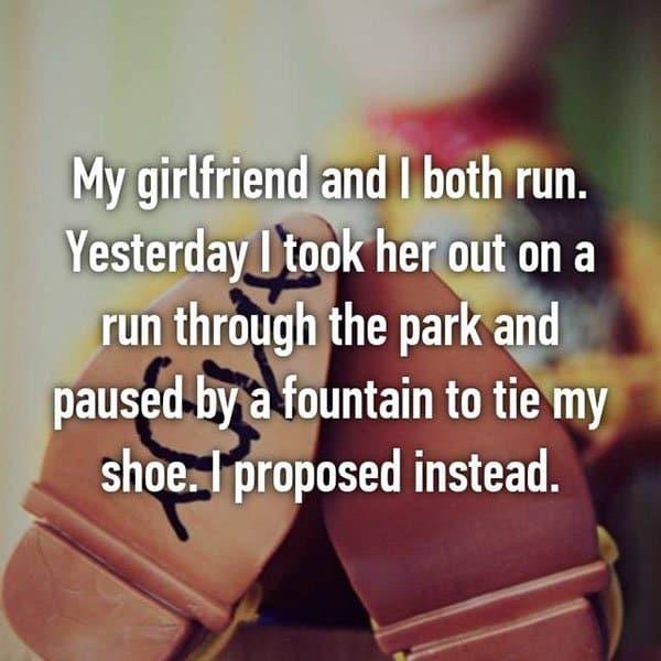 Unique Marriage Proposals tie a shoe