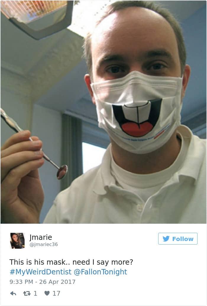 Weird Dentist Stories smiling mask