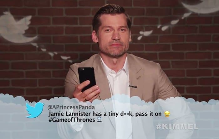 Celebrities Read Mean Tweets About Themselves jamie lannister