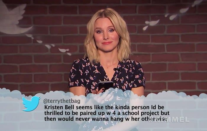 Celebrities Read Mean Tweets About Themselves kristen bell