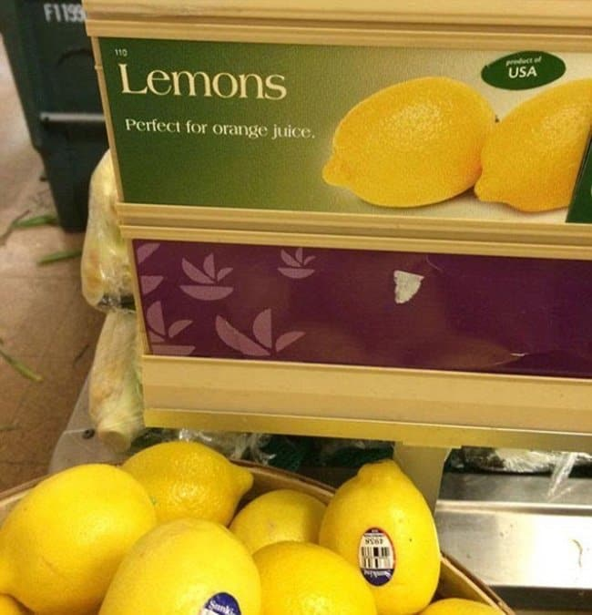 Disappointing Shopping Finds lemons perfect for orange juice