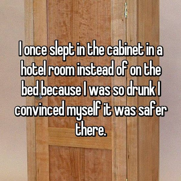 Funny Things That People Did Whilst Drunk slept in cabinet