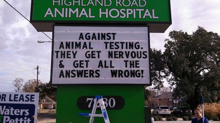 Genius Vet Signs against animal testing