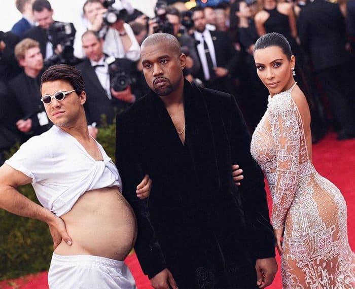 Guy Hilariously Photoshops Himself Into Celebrity Photos kim and kanye