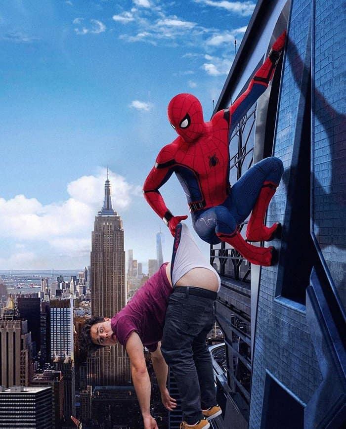 Guy Hilariously Photoshops Himself Into Celebrity Photos spiderman