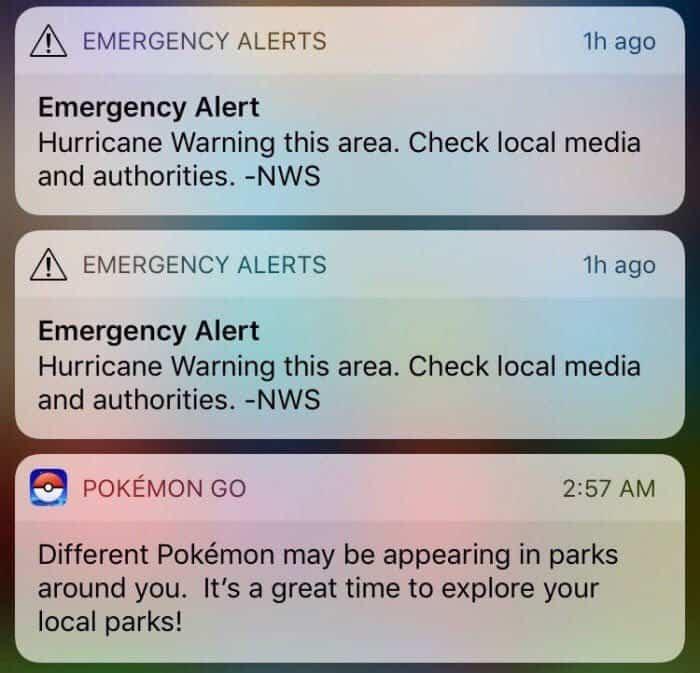 Hurricane Irma emergency alert