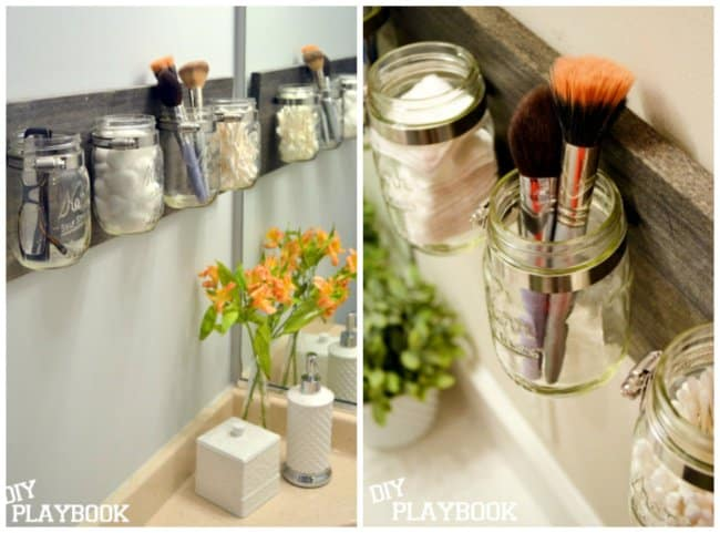Ideas For Reinventing Your Bathroom Space glass jars