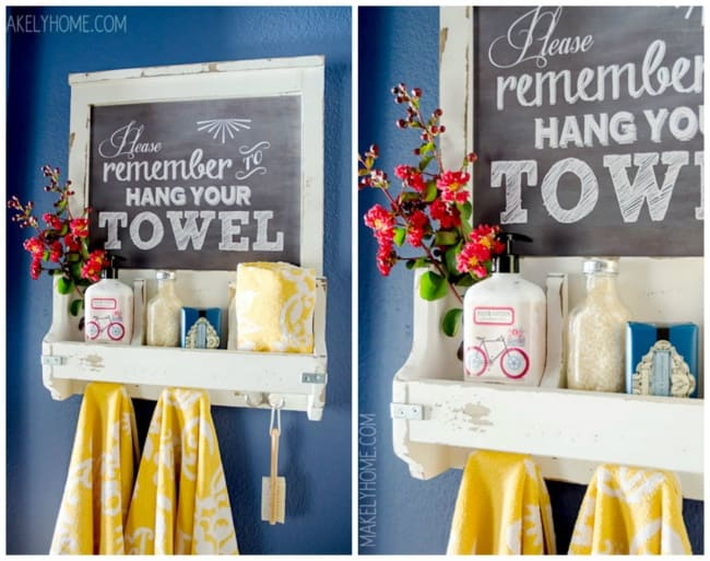 Ideas For Reinventing Your Bathroom Space one small shelf many uses