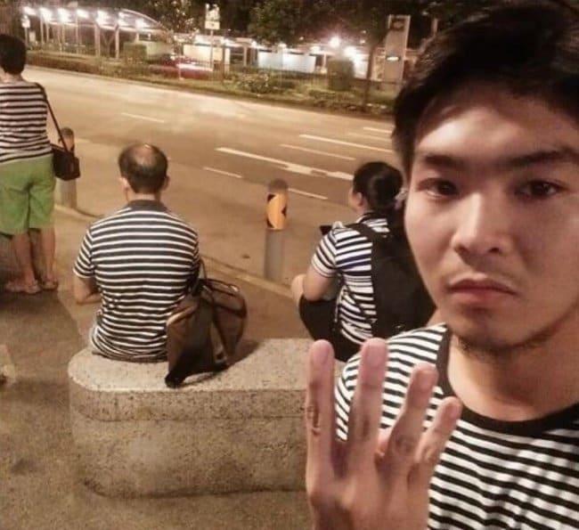 Interesting Photos four stranges striped tops