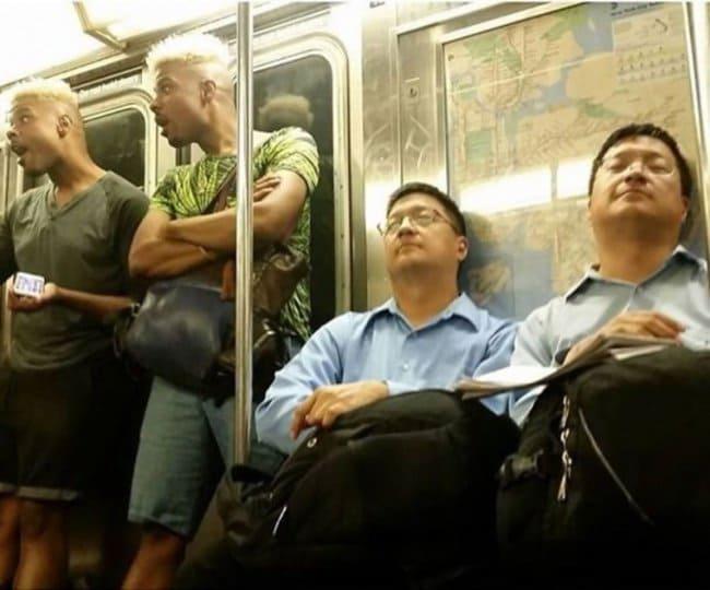 Interesting Photos twins on subway