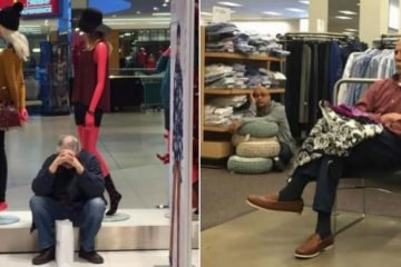 Men Waiting For Their Partners In Stores