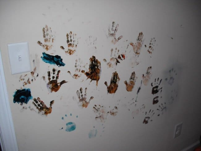 Reasons That Kids Should Never Be Left Alone hand prints on walls
