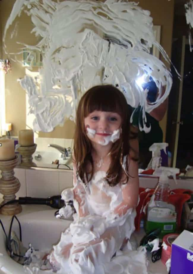 Reasons That Kids Should Never Be Left Alone kid covered shaving cream