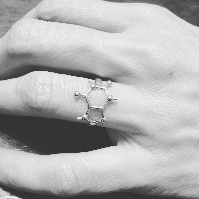 Science Inspired Jewelry Pieces caffeine ring