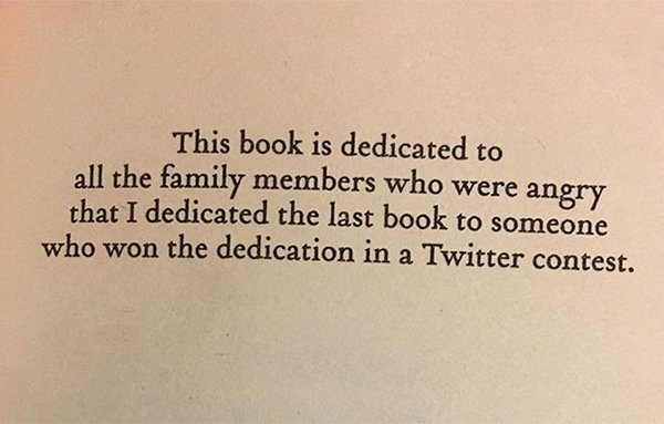 The Best Book Dedications twitter competition