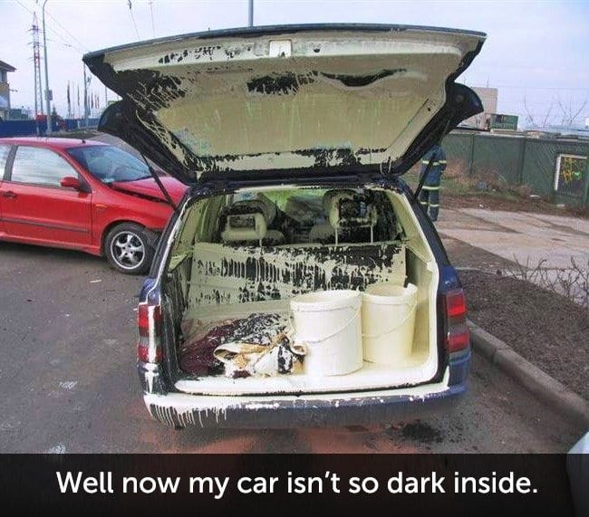 Times When People Had A Very Bad Day paint mess in car
