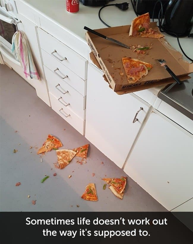Times When People Had A Very Bad Day pizza on floor