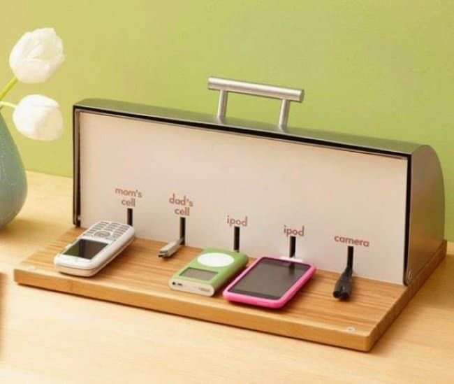 Unexpected Uses For Everyday Items breadbox charging station