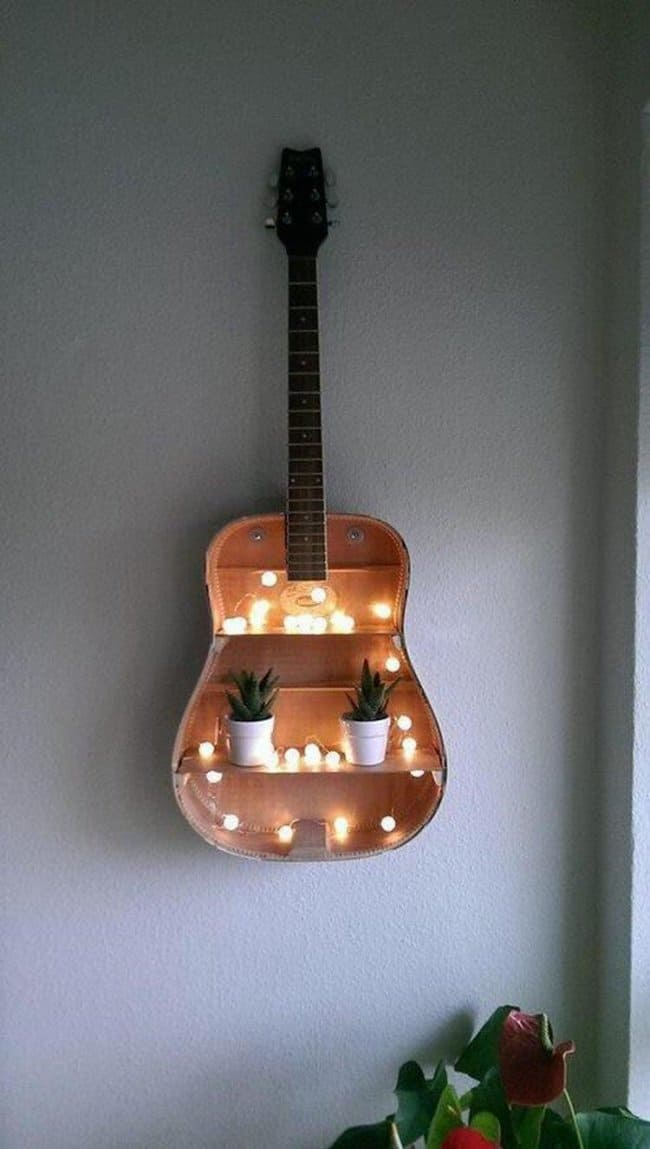 Unexpected Uses For Everyday Items guitar shelf