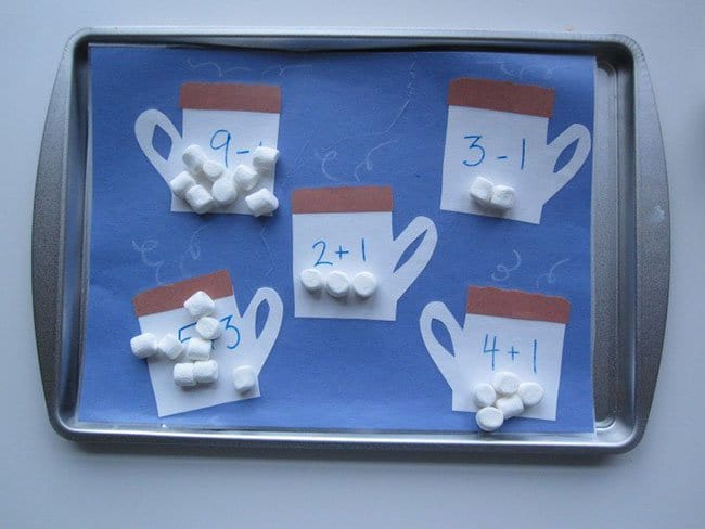Ways To Keep Your Kids Entertained math marshmallows