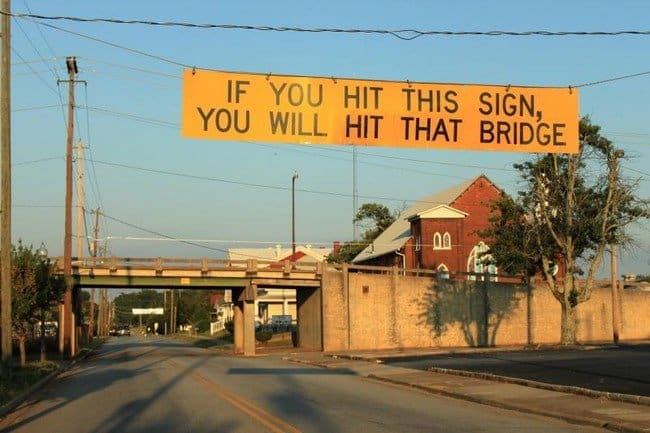 When Designers Actually Cared bridge awareness sign